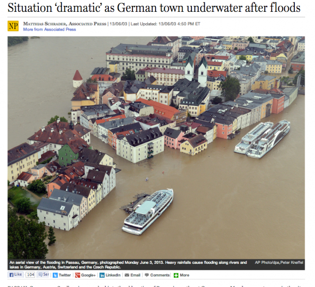 The National Post and other newspapers are reporting record flooding along the Danube.