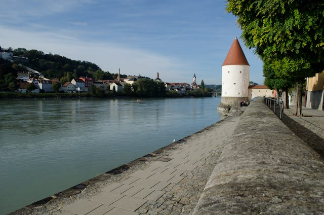 Passau's riverfront promenade last fall. Water has now nearly covered the structure in the distance. Photo © Aaron Saunders