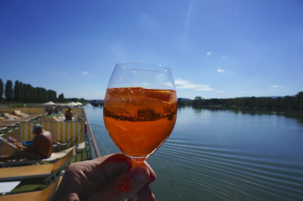 Reflecting on A-ROSA Stella over an Aperol Spritz. © 2013 Ralph Grizzle