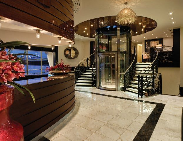 The elegant reception lobby aboard AmaSonata. Photo courtesy of AmaWaterways.