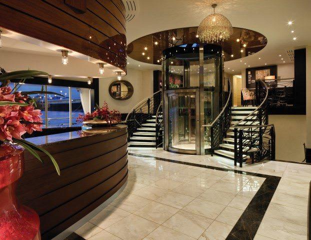 The elegant reception lobby aboard AmaSonata. Photo courtesy of AmaWaterways.