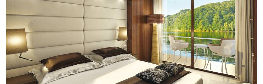 An artist's rendering of the Grand Balcony Suites aboard Emerald Waterways' Emerald Star and Emerald Sky. Image courtesy of Emerald Waterways.