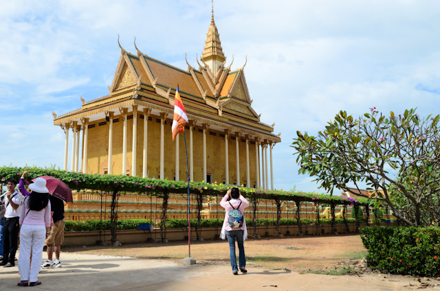 The spectacular Vipassana Dhura Buddhist Meditation Center in Oudong was our first stop after our trip by Khmer Limousine and motorcoach. Photo © 2013 Aaron Saunders