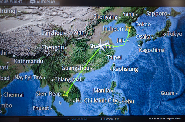 Live flight trackers, dozens of movies, television shows, games...they all make time pass by quickly aboard Korean Air. Photo © 2013 Aaron Saunders