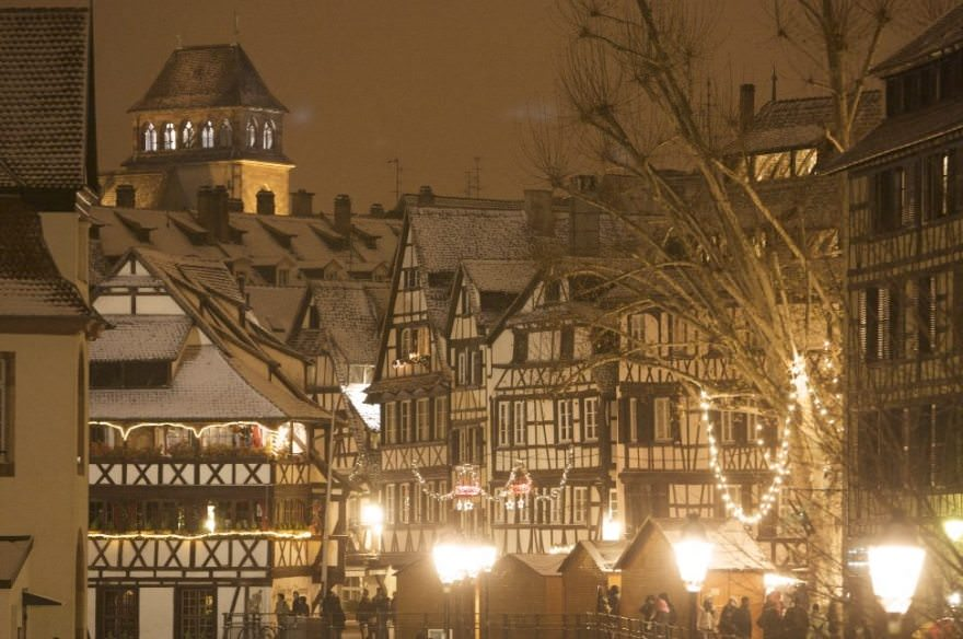 The city of Strasbourg, France under a soft blanket of snow. Photo courtesy of Noel a' Strasbourg.