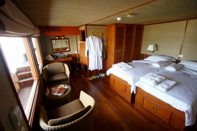 Staterooms aboard the Indochine feature ample wood paneling and elegant styling. Photo courtesy of CroisiEurope.
