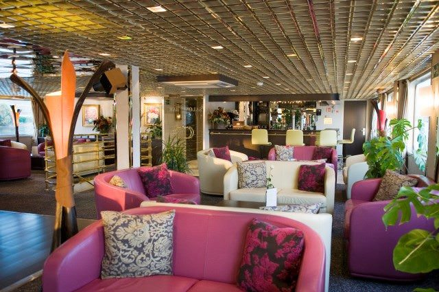 The Main Lounge aboard CroisiEurope's Vivaldi: vibrant and welcoming. Photo courtesy of CroisiEurope.