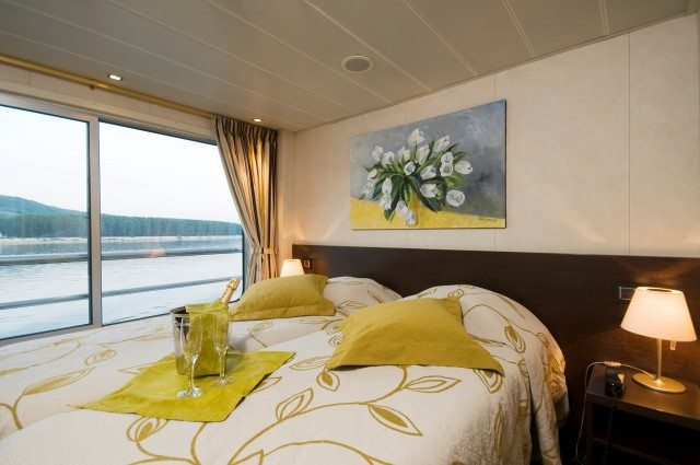 Staterooms aboard Vivaldi are modern and bright. Staterooms on Upper Deck feature French Balconies. Photo courtesy of CroisiEurope.