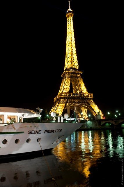 Seine Princess docked in Paris, within sight of the Eiffel Tower. Photo courtesy of CroisiEurope.