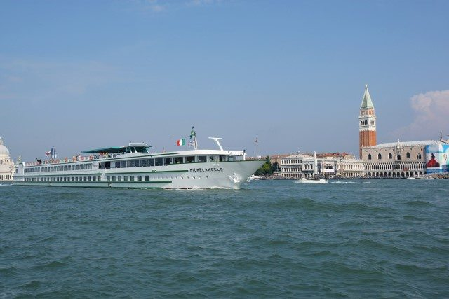 CroisiEurope's Le Michelangelo passing the famous Doge's Palace in Venice, Italy. Photo courtesy of CroisiEurope.