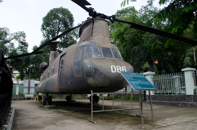 One of the helicopters utilized by the United States during the Vietnam War, on display at the War Remnants Museum in Ho Chi Minh City. Photo © 2013 Aaron Saunders