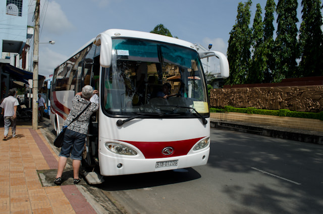 Instead of cramming all of us onto two motorcoaches - which no doubt would have been cheaper - AmaWaterways secured four separate coaches to transport us to the Sheraton Saigon, just as they have every step of the way on this Mekong journey. Photo © 2013 Aaron Saunders