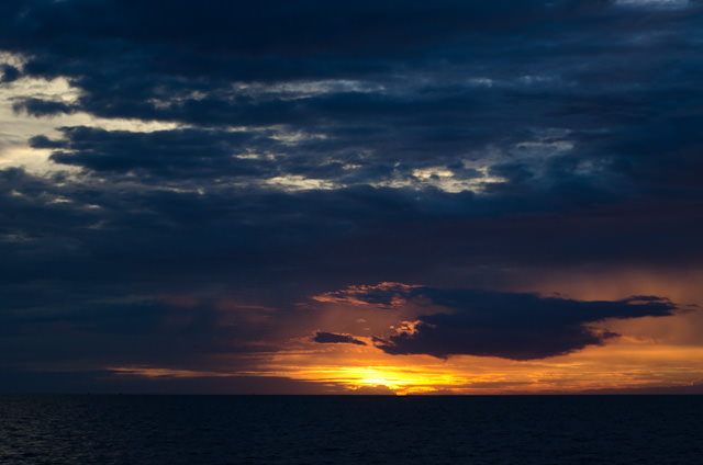 Our fist sunset aboard the AmaLotus on Cambodia's Tonle Sap Lake. Photo © 2013 Aaron Saunders