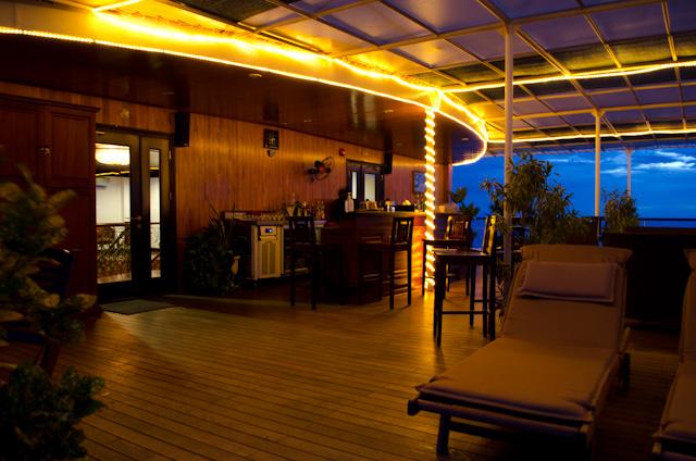 The Sun Deck Bar aboard the AmaLotus at dusk. Photo © 2013 Aaron Saunders
