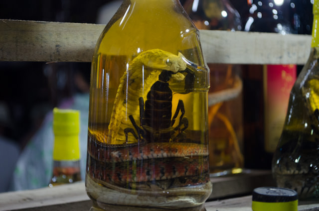 Different varieties of traditional Vietnamese liquor; this one is made from rice wine and scorpion.