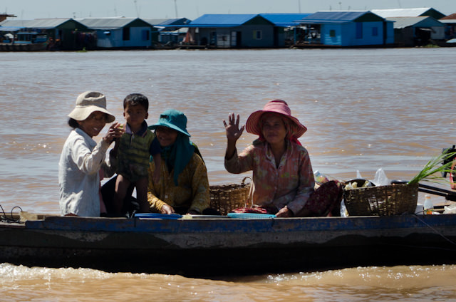 """Nearly everyone we passed along our way into Kampong Chhnang - and beyond - would wave at us and say """"Hello!"""" Photo © 2013 Aaron Saunders"""