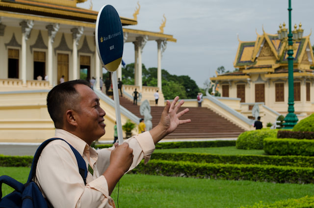 Our fantastic Cambodian tour guide, Chantha, leads the Blue Group from the AmaLotus through the Royal Palace grounds in Phnom Penh. Photo © 2013 Aaron Saunders