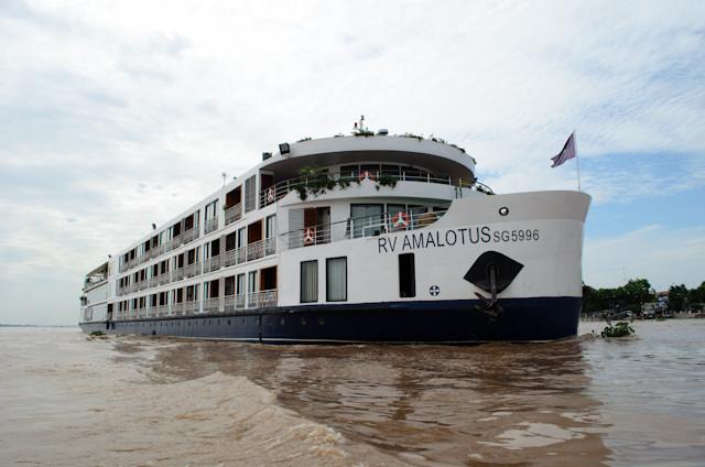 AmaWaterways' AmaLotus at anchor off Tan Chau, Vietnam. Photo © 2013 Aaron Saunders