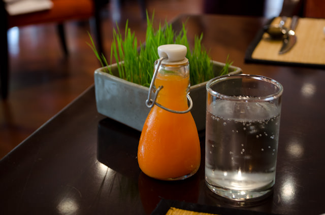 Carrot detox juice made on-site at the Sofitel Angkor. Photo © 2013 Aaron Saunders