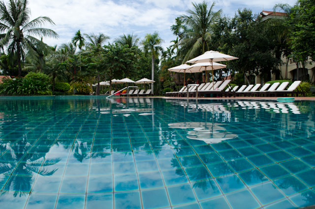 Need to beat the heat in Siem Reap? Head over to the inviting pool at the Sofitel Angkor. Photo © 2013 Aaron Saunders