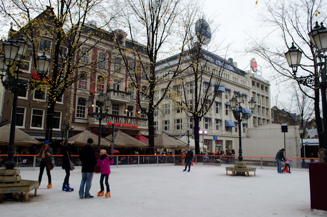 Skating on the ice at the Leidseplein in Amsterdam. Photo © 2012 Aaron Saunders