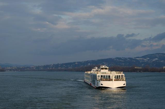 The attractive Viking Embla sails from Visegrad, Hungary. Photo © 2012 Aaron Saunders