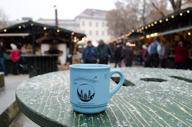 Eine gluhwein, bitte. Most markets typically have their own commemorative cups - that you can keep! Photo © 2012 Aaron Saunders