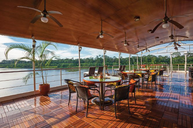 The relaxing, open-air Bar aboard La Estrella Amazonica. Photo courtesy of International Expeditions.