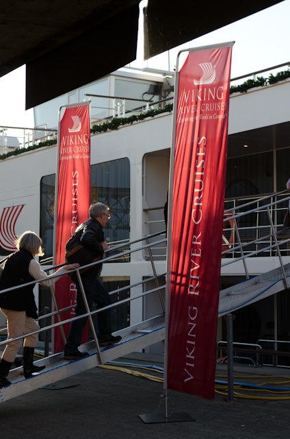 The Big Event: embarking Viking Rivers' new Viking Baldur in Basel, Switzerland. Photo © 2013 Aaron Saunders