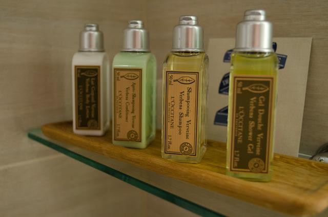 Premium touches: L'Occitane toiletries in every stateroom. Photo © 2013 Aaron Saunders