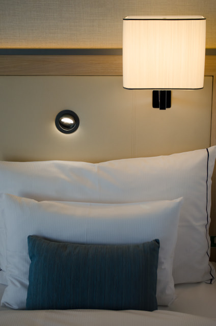 I loved my stateroom, but some of the lighting controls weren't as intuitive as on previous ships. Photo © 2013 Aaron Saunders