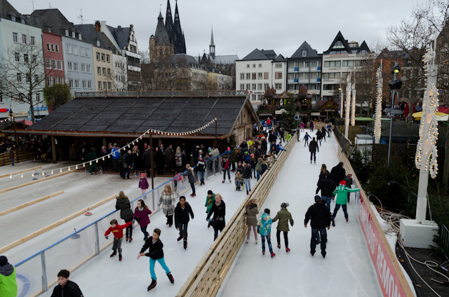 "Ice skating at Cologne's ""Old Town""Christmas Market - one of seven markets in the city. Photo © 2013 Aaron Saunders"