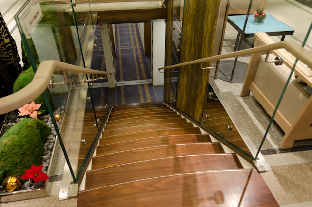 Also New: rich, earth-tone materials help set Viking Baldur apart from her sisters. It could be my imagination, but this Lower Deck staircase seems wider. Photo © 2013 Aaron Saunders