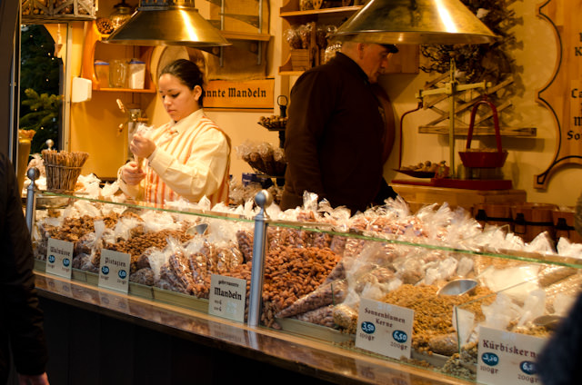 Almost every conceivable kind of traditional food is on offer at the Christmas Markets of Cologne. Photo © 2013 Aaron Saunders