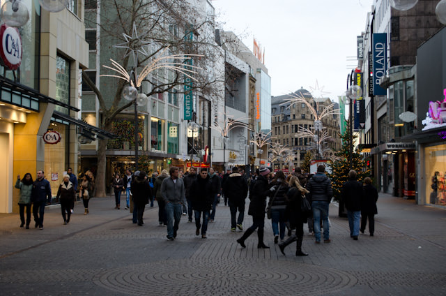 It's Sunday, and all the stores along Cologne's pedestrian shopping zone are closed. The crowds you see here are making their way from one Christmas Market to the next. Photo © 2013 Aaron Saunders