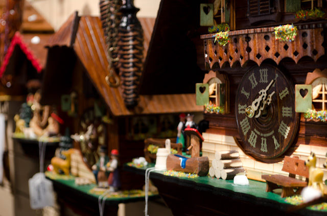 Germany's Black Forest region is known for its intricately-made Cuckoo Clocks. The one pictured here? Nearly 500 Euros. Photo © 2013 Aaron Saunders