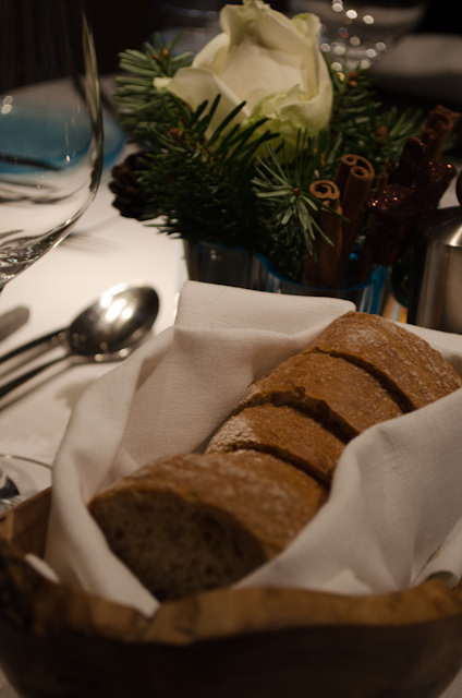 Fresh bread at dinner tonight. Along with the menu,even the bread changes nightly. Photo © 2013 Aaron Saunders