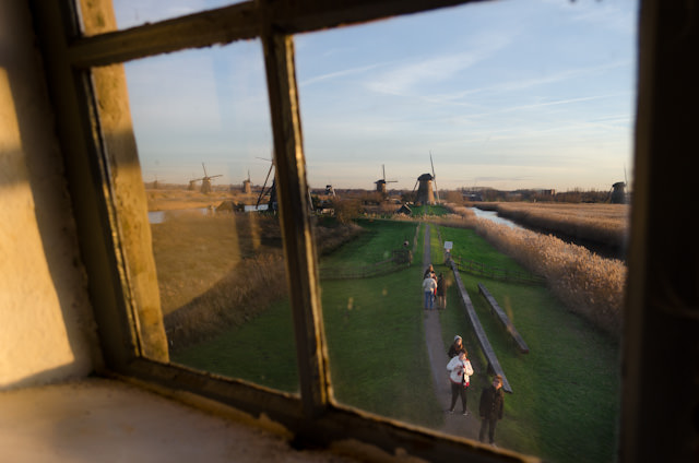 Looking out from one of the many mills in Kinderdijk. Photo © 2013 Aaron Saunders