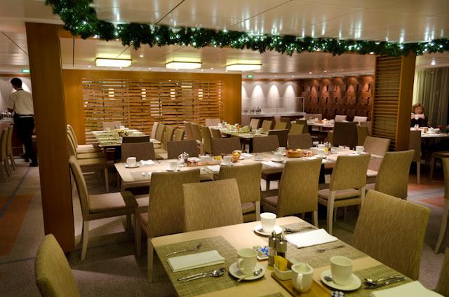 The rear section of The Restaurant aboard Viking Baldur, facing aft. Photo © 2013 Aaron Saunders
