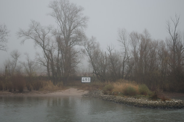 Keeping track of your journey is easy; just watch for the kilometre markers located on both banks of the Rhine. Photo © 2013 Aaron Saunders