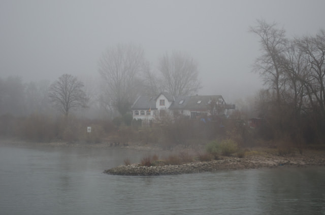 ...and houses emerge from the fog. Photo © 2013 Aaron Saunders