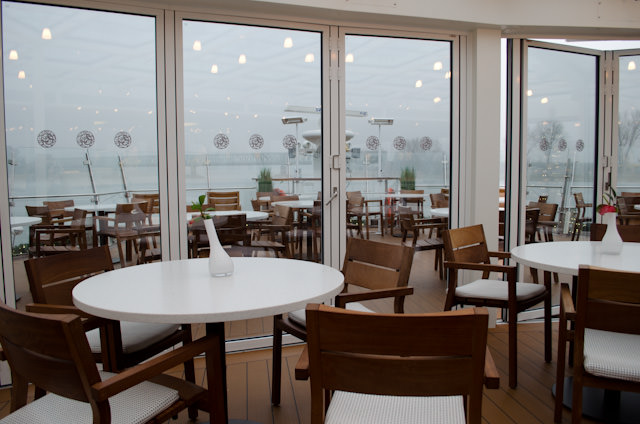 Admiring the view of the foggy Rhine in the Aquavit Lounge. Photo © 2013 Aaron Saunders