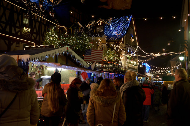 Rudesheim's colourful Christmas Market at night. Photo © 2013 Aaron Saunders