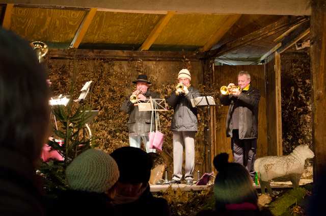 A brass band performs for marketgoers in Rudesheim on Friday, December 13. Photo © 2013 Aaron Saunders
