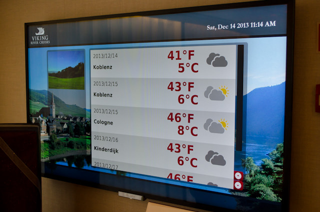Located just outside the Restaurant, a large video display lists the temperatures guests can expect from the next few days. Very handy! Photo © 2013 Aaron Saunders,
