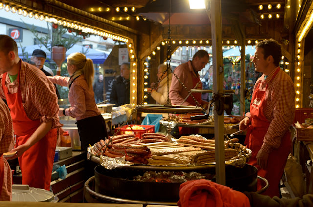 Sausages of all types on offer at one of four Christmas Markets in Koblenz, Germany. Photo © 2013 Aaron Saunders