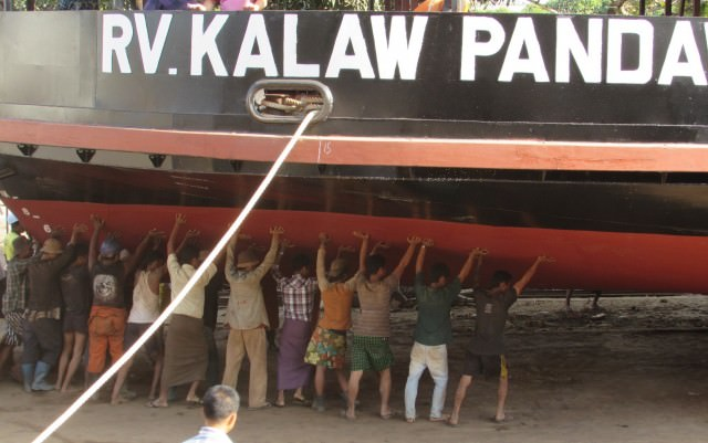 The shallow depth of Kalaw Pandaw's keel can be seen in this shipyard photo. Photo courtesy of Pandaw Cruises.
