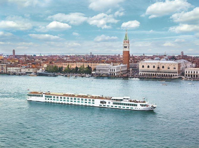 Uniworld's River Countess, shown here in Venice, was awarded the highest ranking of any ship by Travel+Leisure magazine. Photo courtesy of Uniworld Boutique River Cruise Collection