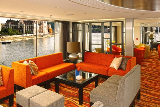 Lounges aboard Avalon's Suite Ships feature expansive floor-to-ceiling windows for increased viewing opportunities along Europe's most striking waterways. Photo courtesy of Avalon Waterways