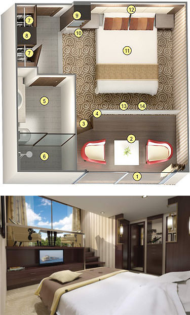 The ms Inspire's new Category 3 staterooms will feature an innovative loft design. Photo-illustration courtesy of Tauck.
